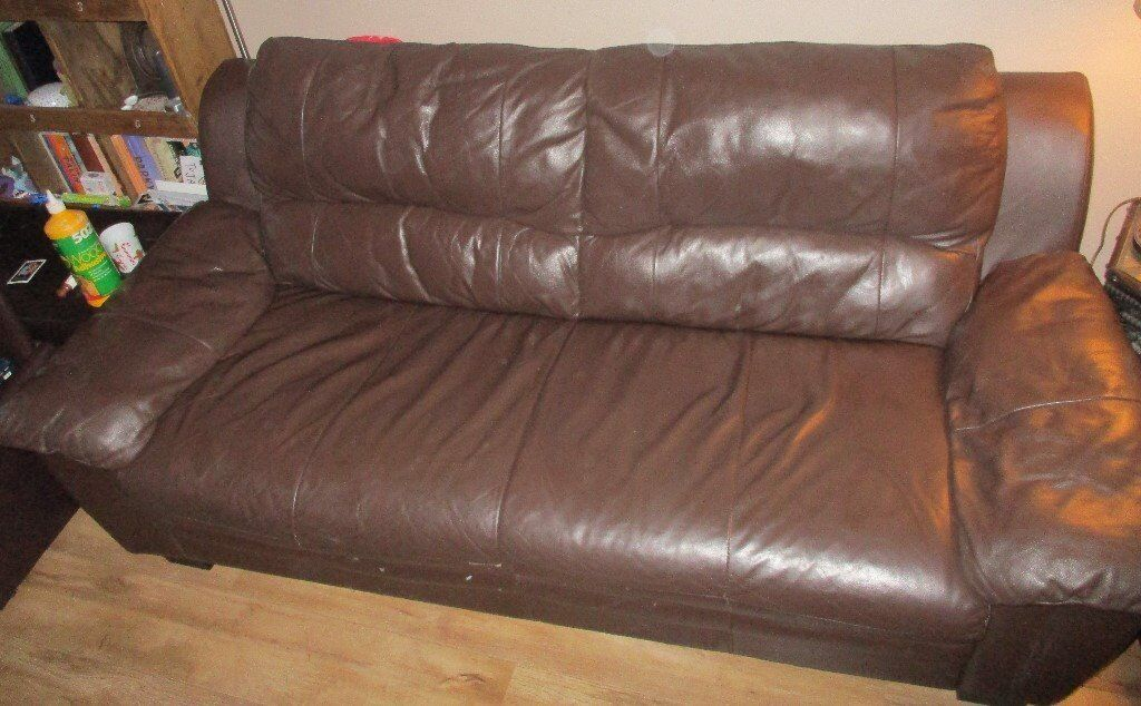 2 BROWN LEATHER SOFAS 2 SEATER 3 SEATER