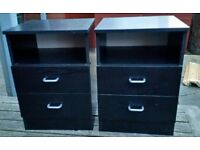 2 bedside tables drawers. 39cm wide x 38cm depth x 55cm height. in excellent condition.