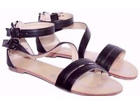 Ladies Black Zipped Gladiator Strappy Sandals Shoes. Size 4