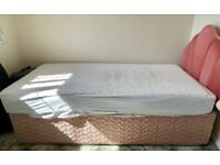Single divan bed with mattress protector and headboard