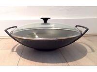 Le Creuset Cast Iron Wok with Glass Lid, Satin Black, 36 cm