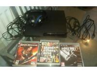 Playstation 3 with headset and games