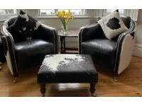 Cowhide and Leather Armchairs - Vintage, retro, distressed look