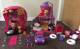 VIP Pets Awards Theatre, Beauty Salon, Gwen's convertible & Juliet's vanity playset, like new