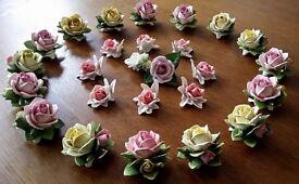 26 Porcelain Roses Flowers Ornaments Figurines Table Art Deco Wedding Party Handmade Vintage