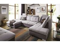 CREMA U shape Corner Sofa Bed with comfortable backrests is equipped with adjustable head