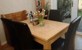 Extendable solid wood dining table and 4 chairs
