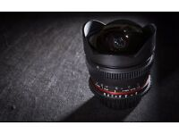 Rokinon 8mm fish eye f3.5 cinematic version (T3.8) for Nikon.