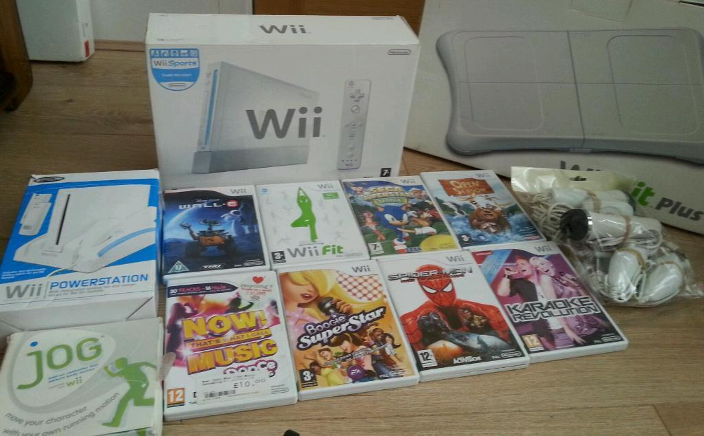 Nintendo wii complete console with Nintendo wii fit board Nintendo wii wheel and stand and gamesin Bradford, West YorkshireGumtree - Nintendo Wii complete console with Wii Fit board Nintendo Wii stand and wheel micro phones and games in good condition and in full working order can be tested collection ideal for a birthday present to keep kids entertained for more info you can...