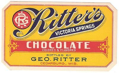 1905 Chocolate Drink Label Ritter's Victoria Springs  Geo. Ritter Cedarburg Wi.