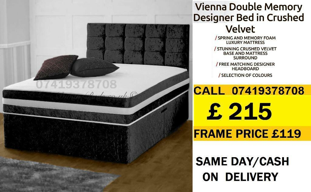 AB CRUSH VELVET SINGLE DOUBLE KING SIZE MEMORY FOAM DESIGNERBeddingin Highgate, LondonGumtree - SALE SALE SALE....EXTREME Quality Furniture like Divan and Leather Base available contact us