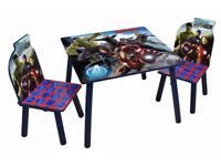 NEW Marvel avengers wooden table with chairs