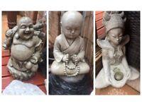 STONE GARDEN ORNAMENTS A SET OF 3 *LAUGHING BUDDHA *MEDITATING BUDDHA*GODDESS