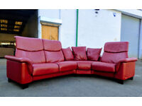 Ekornes Stressless Paradise dark red leather paloma leather corner sofa DELIVERY AVAILABLE