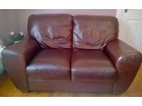 Brown Leather 3 seater Sofa and 2 seater Sofa