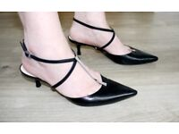 GIORGIO ARMANI black/metal bar strappy shoes size 6