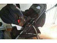 Pram and connecting Car seat for sale