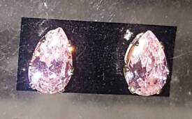 9ct Yellow Gold Pink Pear Drop Stud Earrings 9C 375