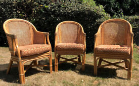 3 cane & bamboo chairs 1 bamboo armchair with cushions