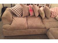 Large Corner Sofa, beige cord Fabric - Good Condition