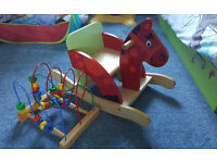 Baby wooden rocking horse and activity toy