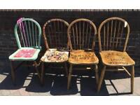 Vintage upcycled chairs and stools