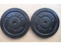 2 x 20kg Marcy cast iron weight plates bodybuilding crossfit
