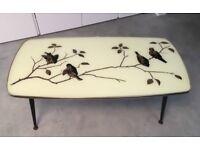 RETRO Coffee Table with Gold Leaf + Bird Print, Dansette Legs, Gold Trim