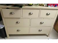 Cream chest of drawers dressing table