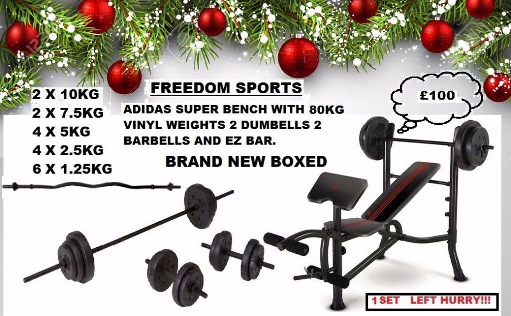 Adidas weights bench with 65kg Vinyl weights SET BRAND NEW BOXED