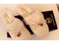 Michael Kors Ivory faux fur slippers genuine Selfridges £140 U.K. Size 5 new in box can post £4