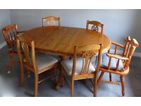 Pine dining table and 6 chairs - £380 or nearest offer
