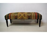 Beautiful 3 seater hand stitched kilm solid wood bench