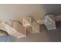Set of 3 lanterns white, Large medium small sizes, Indian, Moroccan style candle holder, lantern
