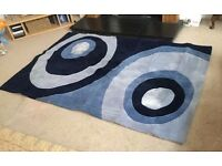 LARGE ACRYLIC PILE TWO TONE BLUE RUG, HARLEQUIN, HAND TUFTED, 4ft x 6ft, POP ART, BLUE SWIRLS