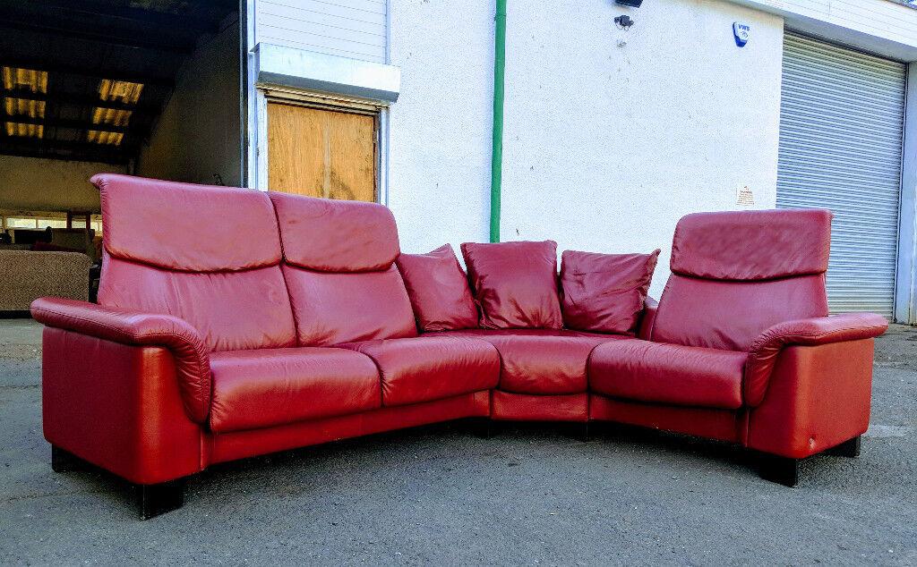 Ekornes Stressless Paradise recliner dark red paloma leather corner ...