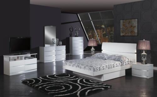 WYNN - KING & QUEEN SIZE MODERN WHITE GLOSSY BEDROOM SET 5 PCS
