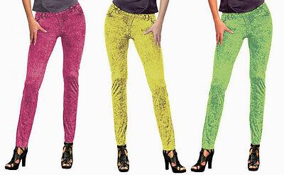 Legging pink grün gelb 36 38 Leggings 80er Jahre Aerobic Disco (Aerobic 80er Jahre Kostüm)