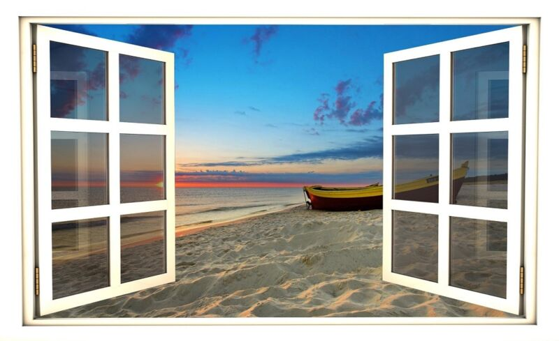 "24"" Window Scape Instant View Beach at Sunset Wall Decal Sticker Graphic Mural"