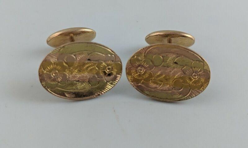 Vintage Victorian Estate Etched Floral Gold Filled Cufflinks EW