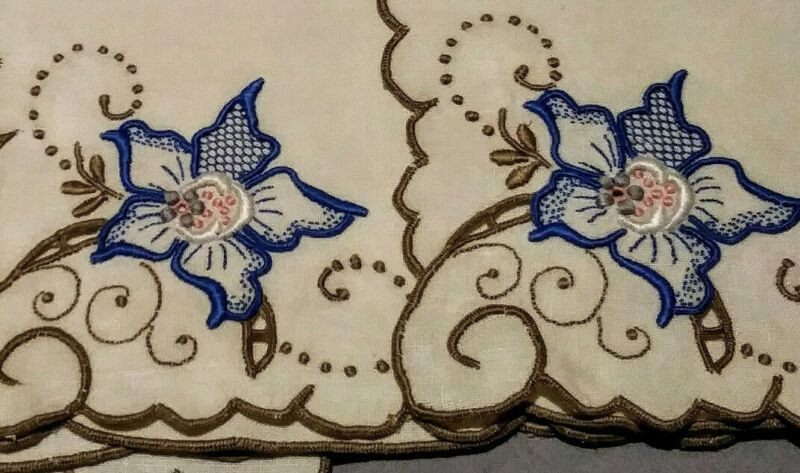 """Set - 6 Exquisite Embroidered & Cutwork Madeira Floral Linen Napkins 11"""" Square"""