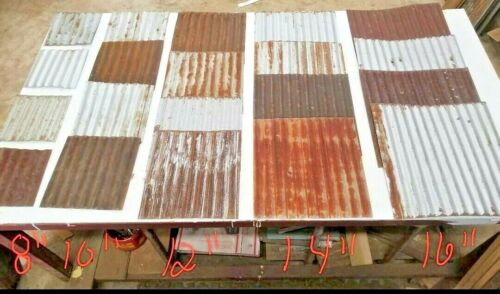 (#16) 20 pieces square Vintage Reclaimed Corrugated Rustic Metal Roofing Tiles