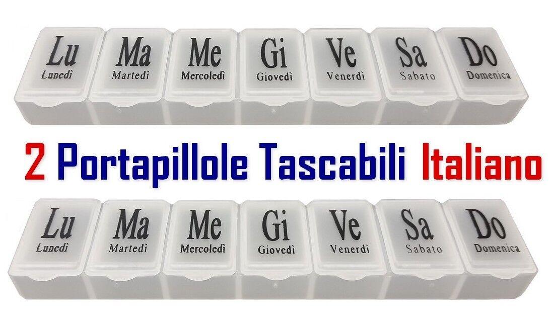PORTAPILLOLE SETTIMANALE - 2 Pezzi - 7 Scomparti GIORNALIERI - ITALIANO