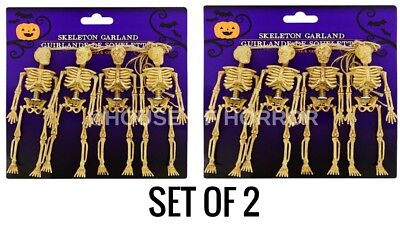 SET OF 2 LOT OF 2 POSEABLE HALLOWEEN SKELETON GARLAND HAUNTED HOUSE PROP DECOR