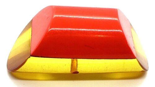 Vintage Button…Large Chunky Applejuice Bakelite/Red Casein Laminate Shape