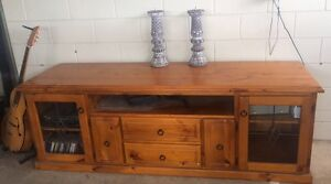Solid Timber TV Unit with glass lead light doors Kirwan Townsville Surrounds Preview