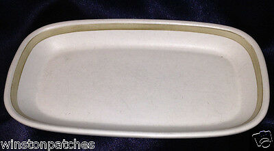 DENBY LANGLEY ENGLAND GOURMET BUTTER DISH NO LID STONEWARE WHITE WITH TAN BAND Denby White Dish