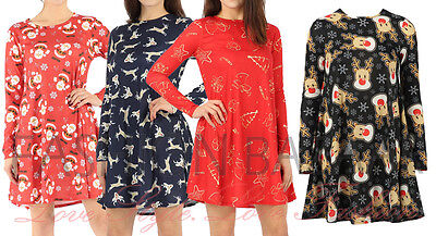 New Womens Christmas 2018 Swing Skater Dress Santa Reindeer Xmas Party Top Cheap](Inexpensive Christmas Party Dresses)