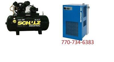 Schulz Air Compressor - 7.5hp Three Phase - 80 Gallon 30 Cfm Dryer 35 Cfm