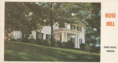 Front Royal VA *Rose Hill Mansion ca. 1960 * Civil War